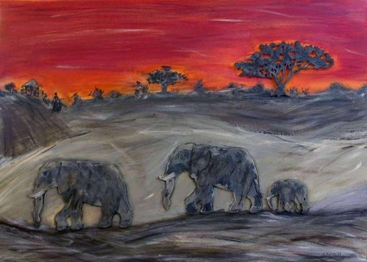 Leinwandbild mit Elefantenkarawane und afrikanischer Baum aus Holz mit Acrylfarbe bemalt, Elefanten und Baum sind dreidimensional!