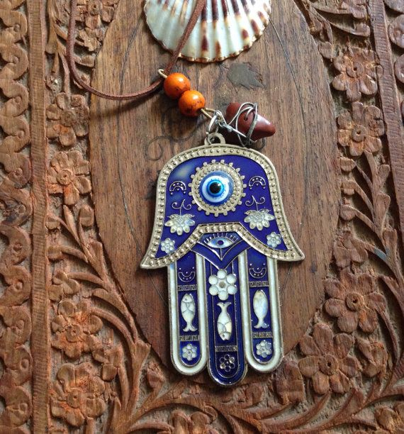 Hamsa Hand Necklace Eye of Fatima hand amulet by TriquetraBoutique