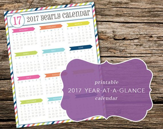 Printable 2017 Year-at-a-Glance Calendar by TrewStudio on Etsy