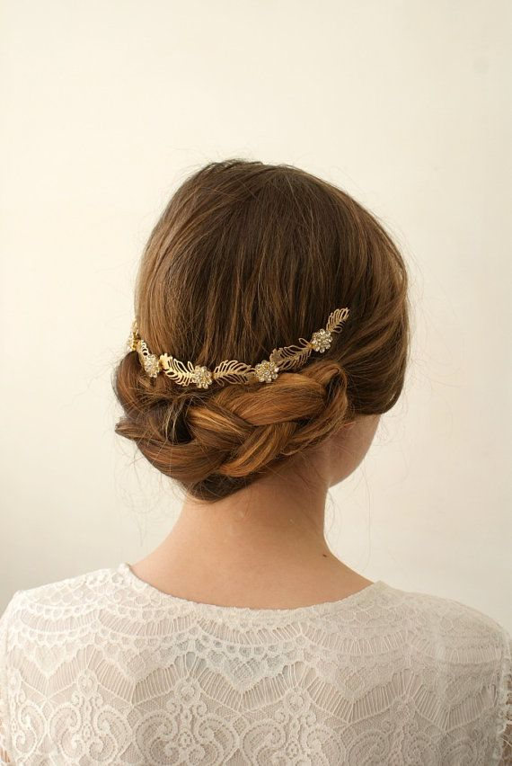 Gold wedding Headpiece - wreath Bridal hair accessory - Bohemian Wedding Headpiece bun accessory with leaves and flowers