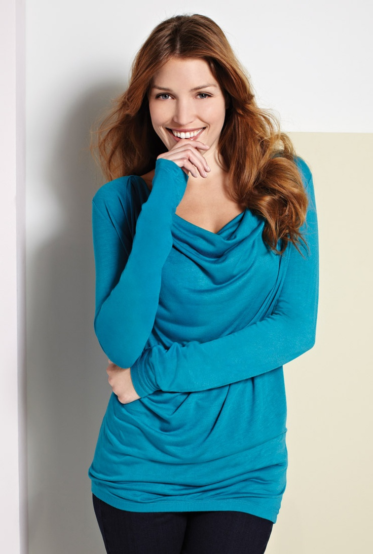 Long Sleeve Drape Neck Top In Blue Perfect To Wear With Long Leggings