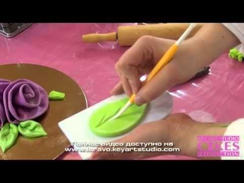 Ленточные розы из мастики легко и быстро