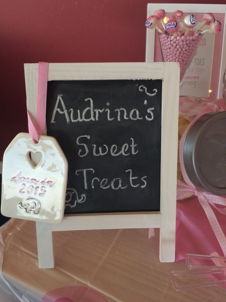 Chalkboard for candy buffet at christening