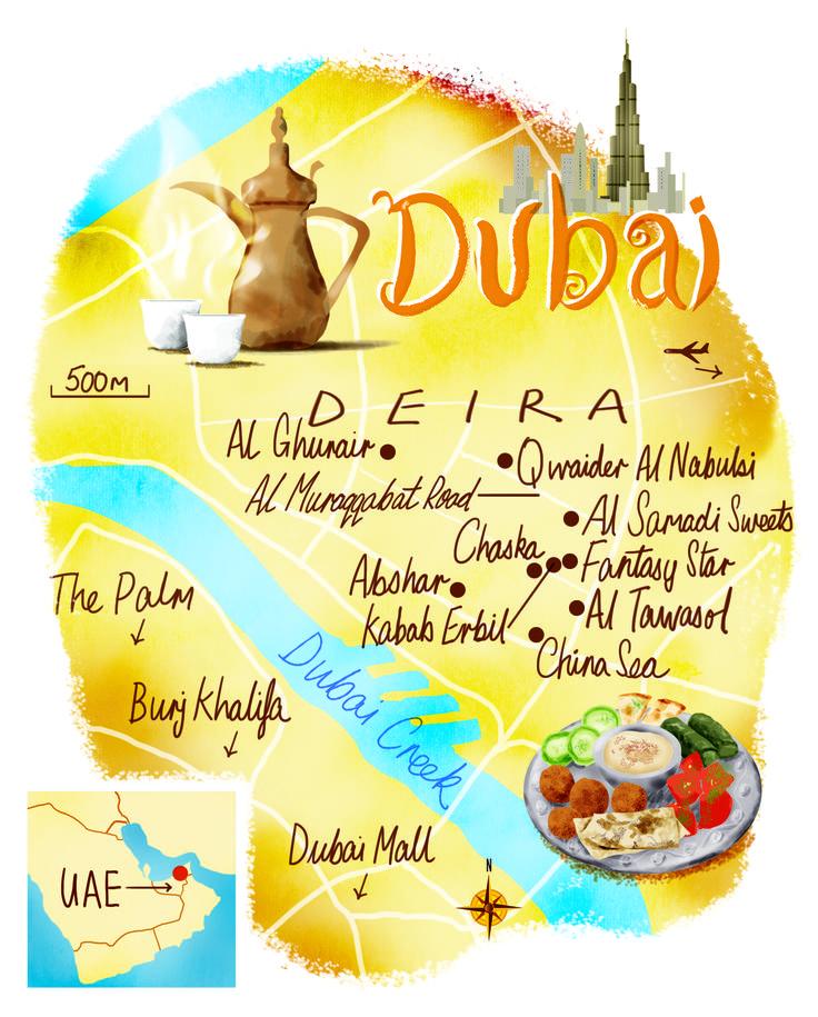 Dubai map by Scott Jessop. February 2015 issue