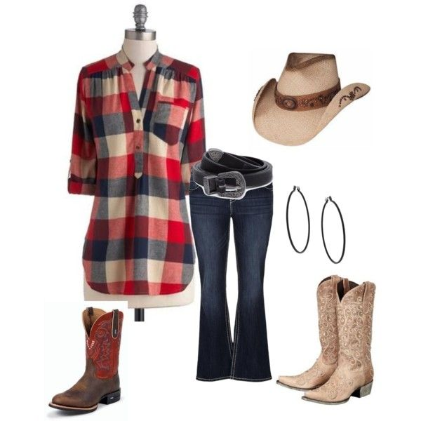 Plus-Size cowgirl look. short sleeve summer plaid shirt, jeans/belt, cowgirl hat and choice boots by im-karla-with-a-k on Polyvore featuring polyvore fashion style maurices Topshop Forever 21