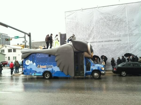 Hootsuite is driving around in this giant owl truck and shooting T-shirts into the air with an air cannon
