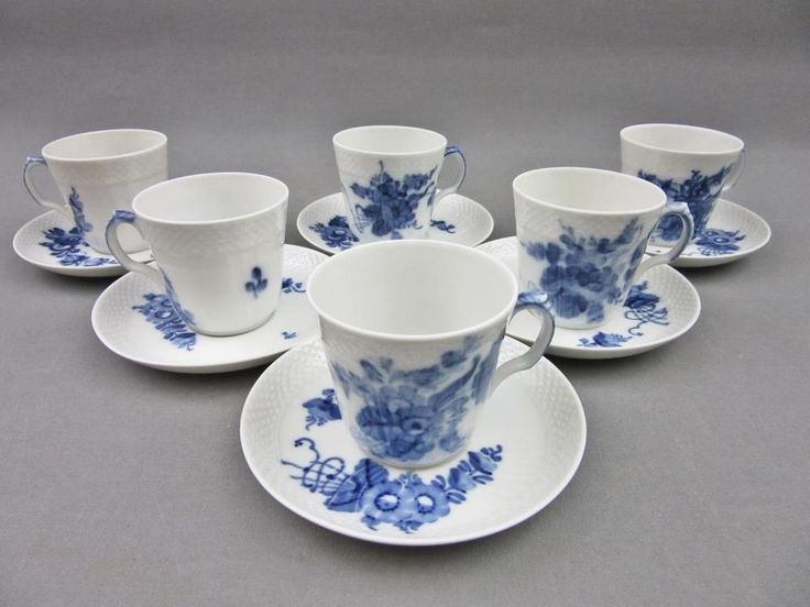 Denmark Royal Copenhagen Danish 6 tea pair cup saucer plate 12 pcs 1a qualiti…
