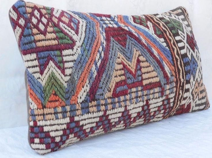 12x24'' Outdoor Indoor Decorative Throw Pillows,Long Kilim Lumbar Pillow Cover #Handmade