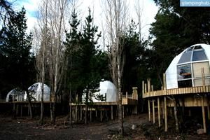 Modern Lakeside Domes near a Stunning Volcano in Pucon, Chile