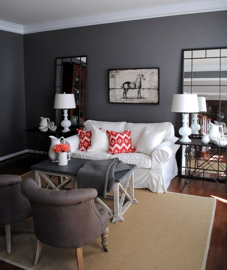 Living RoomDifferent Shading Of Room Design Fetching Ikea With Gray Paint Color Wall White Couch Red Striped Cushion And Metal