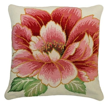 "NCU359 Vickey. Beautiful handmade needlepoint pillow. A large flower made up of lovely shades of Pinks grace this pillow. Outlined in bold orange, this flower ""pops"" off of the pillow. Large Greens leaves sit at the bottom of the flower. Prefect for all rooms and all chairs. Beige cotton velvet zippered back, removable insert, dry Clean."