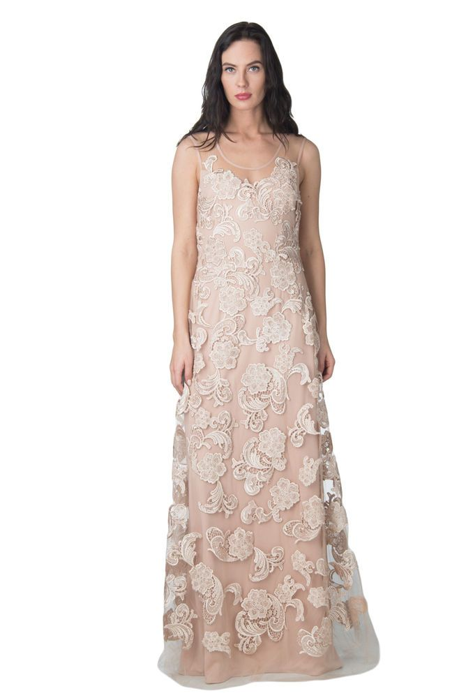 MIKAEL AGHAL Maxi Cocktail Dress Size 6 S Embroidered Floral
