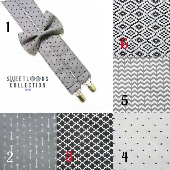 Gray Suspenders Black and White Suspenders by GeekFashionSource