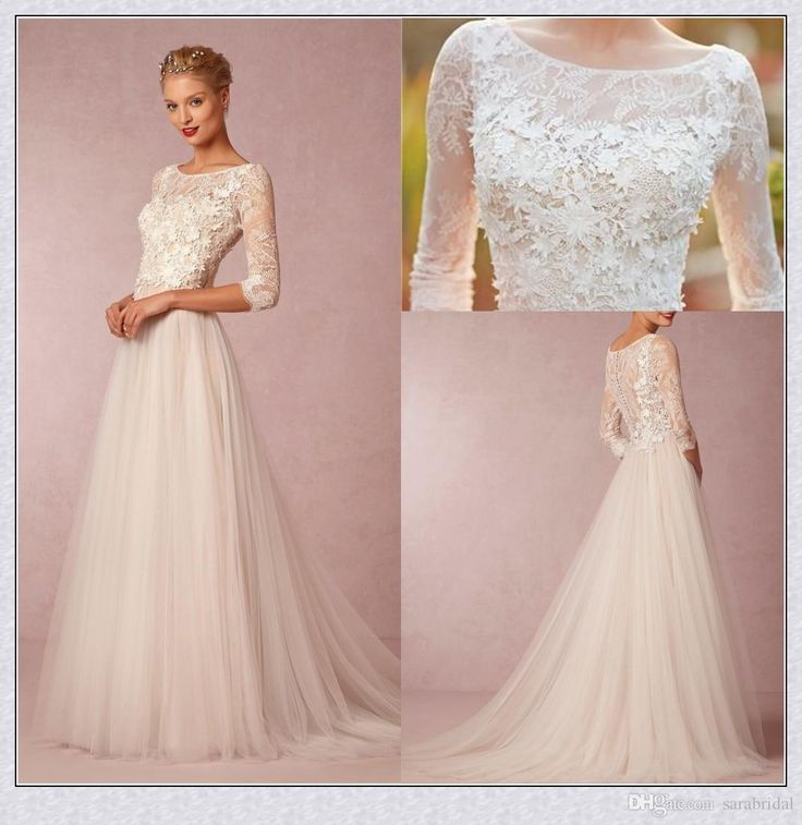 2017 Wedding Under 100 Country Simple Chiffon Bridal Gown With Sleeves A Line Vintage Lace As Low 87 94