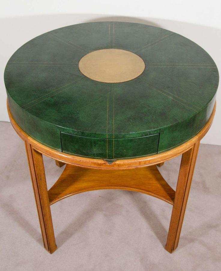 Midcentury Tommi Parzinger For Charak Modern, Round Leather Game Table
