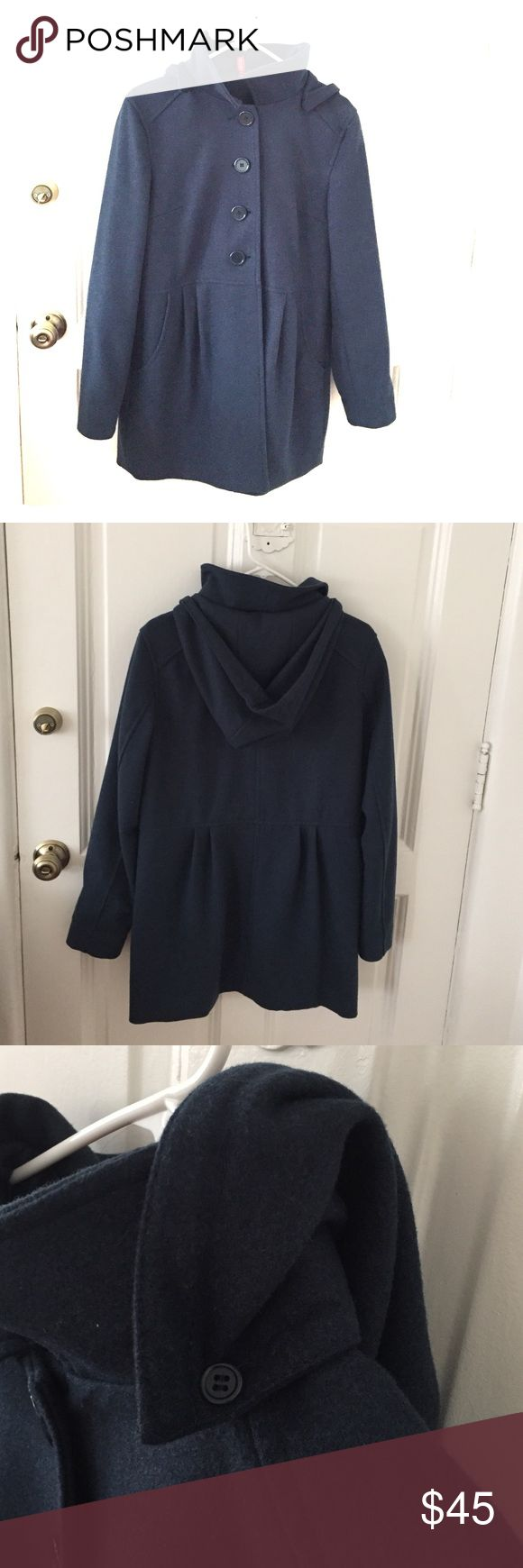 H&M knee length coat with removable hood! This is a super nice knee length H&M Divided coat. It hits at the knee and has a removable hood. Very unique dark teal color. In excellent condition. Price is firm, if not sold I will definitely keep. H&M Jackets & Coats