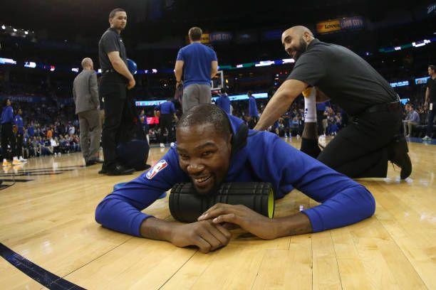 Kevin Durant of the Golden State Warriors warms up before the game against the Oklahoma City Thunder on November 22 2017 at Chesapeake Energy Arena...
