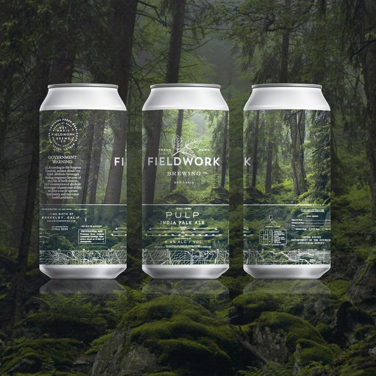 Can label design for Fieldwork Brewing Co - Pulp IPA - Inspired by our love for the outdoors and vintage National Geographic Photography. Design by Gamut, in San Francisco, CA