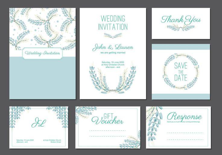 Bluebonnet wedding card template