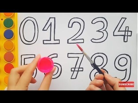 How to Draw Numbers and Colorful Hands for Kids Learning Colors 1