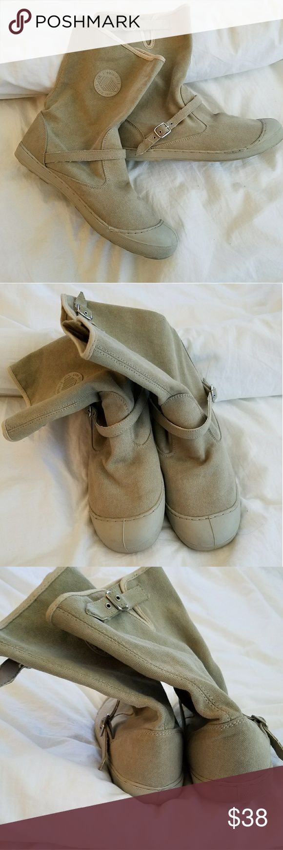 Palladium Canvas Boots Adorable khaki pull on boots. Lightweight, cute buckles, and in fabulous condition!! Palladium Shoes Winter & Rain Boots