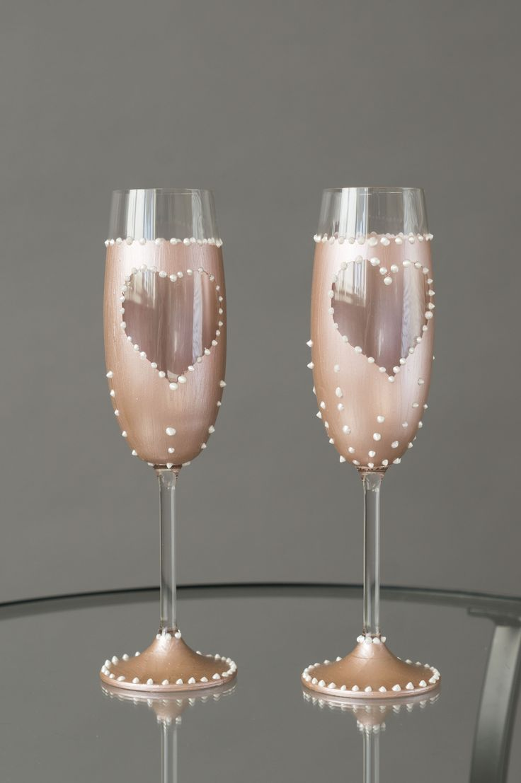Rose gold wedding champagne glasses. To buy go to https://www.etsy.com/listing/524403565/set-of-two-wedding-flutes-with-rose-gold?ref=shop_home_active_7