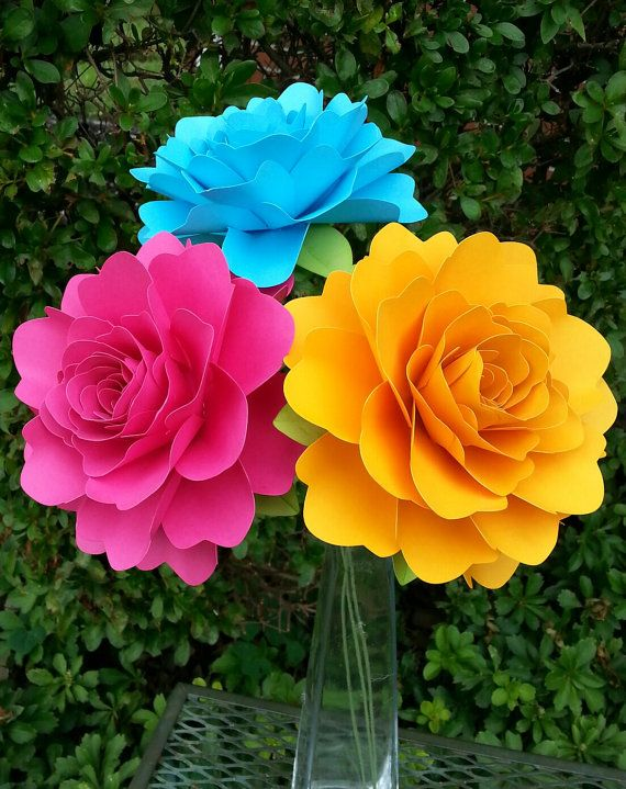 Paper Flowers - Wedding Decorations - Home Decor - X-Large Flowers - Set of 12 - Bright Colors - MADE TO ORDER