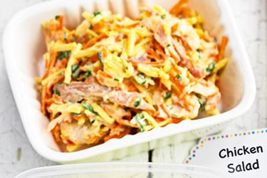 Chicken salad recipe, NZ Woman's Weekly – This delicious mixture combines leftover roast or deli chicken with vegetables, cheese and a dollop of creamy aioli or mayo. – foodhub.co.nz