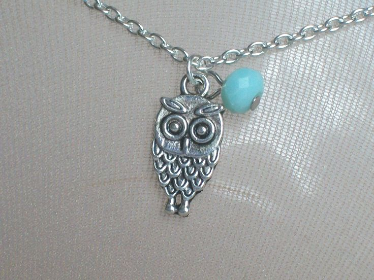 Owl Anklet, Turquoise Bead, Summer Wear, Nocturnal Bird, Beach Anklets, Moon, Athena, Girls of all Ages, Falcon, Talons, Bird Predator by JypsyJewels on Etsy