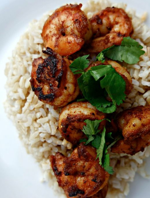 Delicious Cajun Blackened Shrimp with Brown Rice