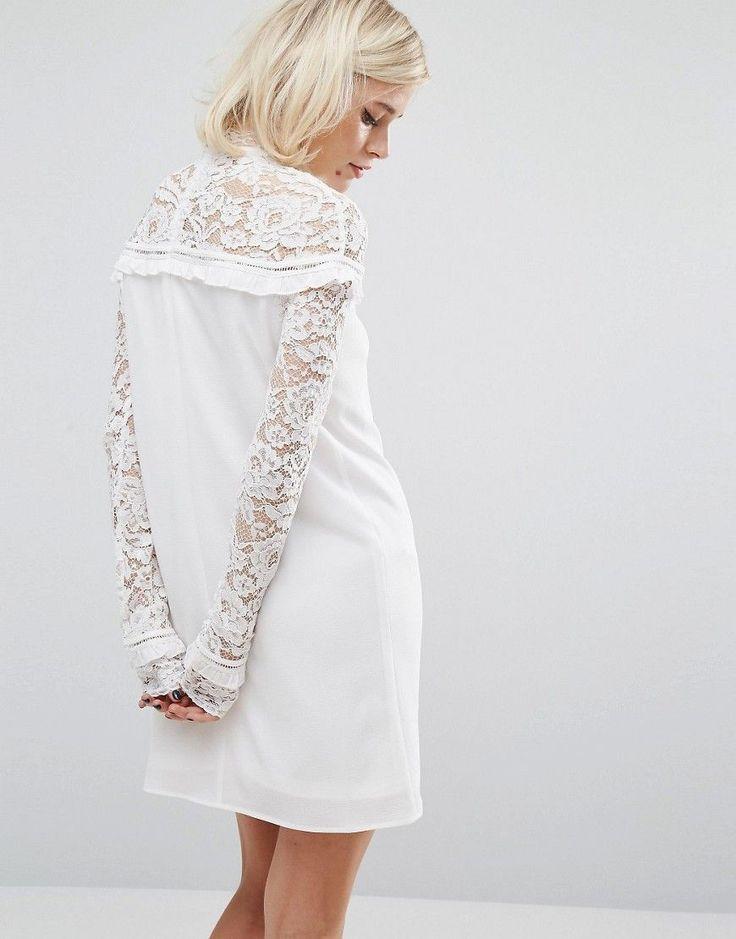 60s lace panel shift dress black