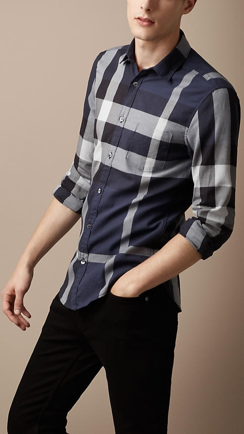 Burberry - EXPLODED CHECK COTTON SHIRT $250 i like the big pattern. the small one on a shirt is too much to handle