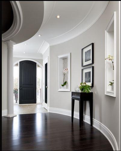 dark floor against grayish mocha light trim