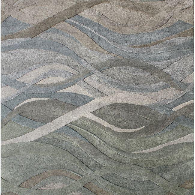Alliyah Handmade New Zeeland Blend Classic Grey/ Green Wool Area Rug (6u0027 X