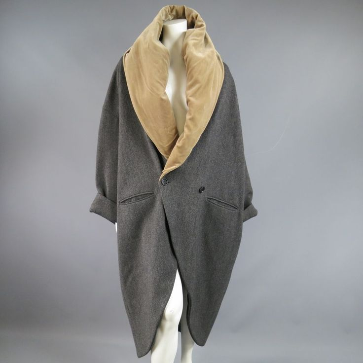 ROMEO GIGLI Size 6 Grey Herringbone Tan Velvet Collar Cacoon Coat | eBay
