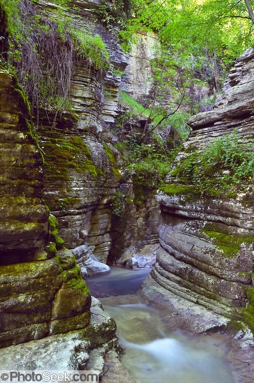 Slot canyon stream near Mikro Papingo village (or small Papigo, Greek: ), Zagoria, north Pindus Mountains (Pindos or Pindhos), Epirus/Epiros, Greece, Europe. Zagori (Greek: ) is a region and a municipality in the Pindus mountains in Epirus, in northwestern Greece. Zagori contains 45 villages collectively known as Zagoria (Zagorochoria or Zagorohoria).