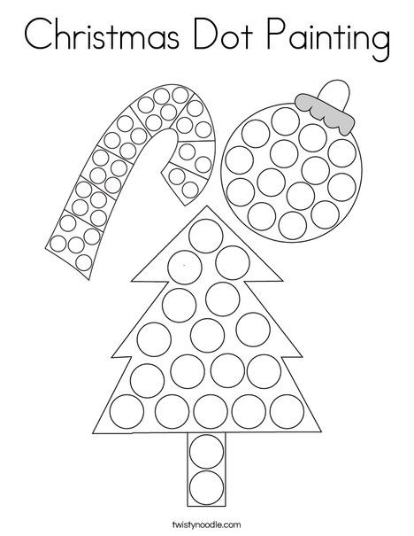 Christmas Dot Painting Coloring Page - Twisty Noodle | Dot ...