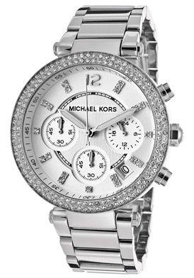 Michael Kors MK5353 Watches,Women's Chronograph Silver Textured Dial Stainless Steel, Women's Michael Kors Quartz Watches
