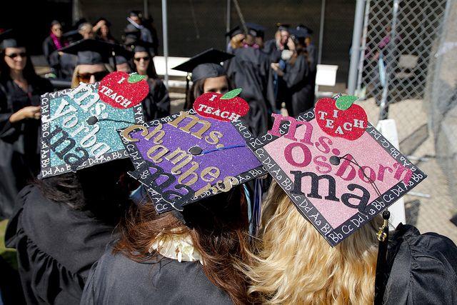 Future teacher, apple, alphabet Decorated mortar board/graduation cap - California State University San Marcos Commencement 2013
