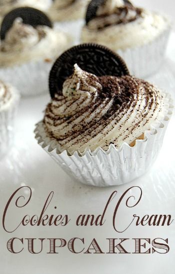 Cookies and Cream Cupcakes Recipe & picture tutorial.  Uses a cake mix and Oreos or other sandwich cookie!