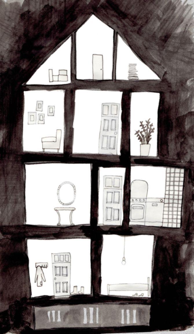 Huis met kamers tekenen; achtergrond met zwarte verf of dikke stift. Intekenen met grijs potlood.