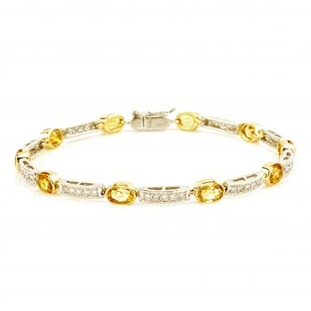 Браслет из золота с цитринами и бриллиантами.