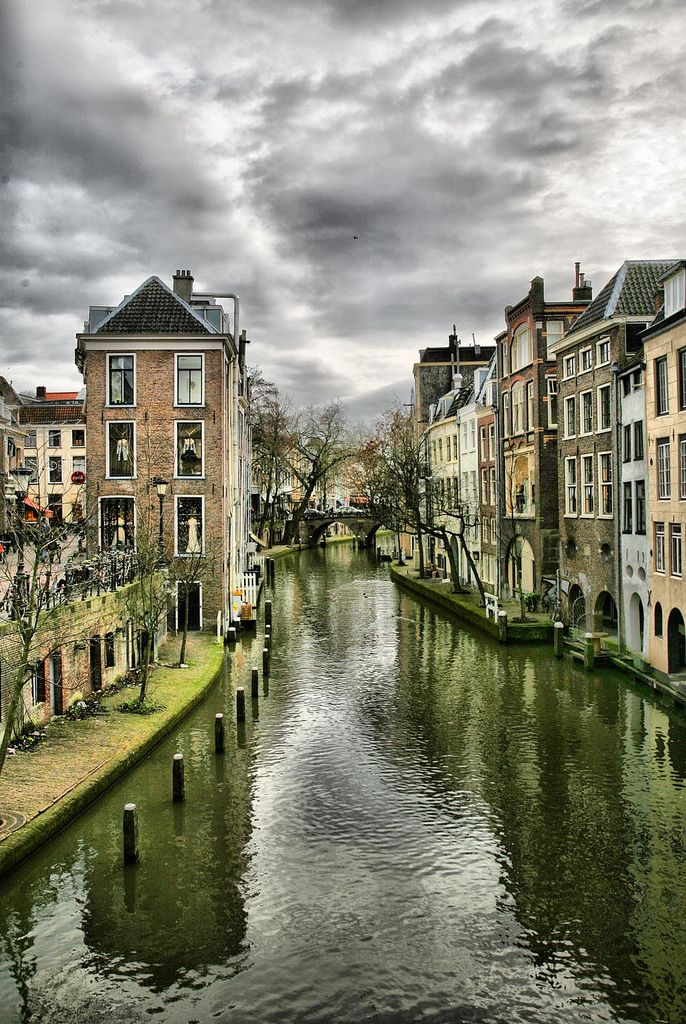 "Utrecht, Netherlands. A narrow street is highly desirable, even if that ""street"" is a canal. #Townhouses"