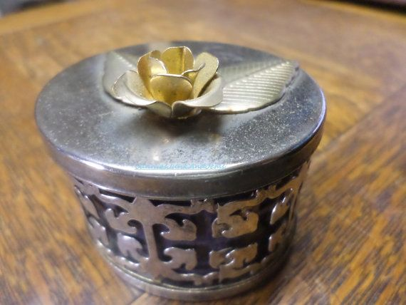 Golden Rose  Trinket Box Pill Pot  Found in France by TinTack, €15.00