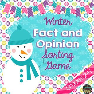 "Winter Fact and Opinion Sort    This FREE winter fact and opinion sorting game is perfect for centers/stations or for early finishers!Make sure to laminate so you can use it year after year.Click on the image above to check it out.Included: 20 fact and opinion statements for sorting ""Fact"" and ""Opinion"" sort headings 1 ""Fact and Opinion"" mini poster Answer Key for students to self-check Thanks!   2nd grade 3rd grade 4th grade fact and opinion literacy center games"