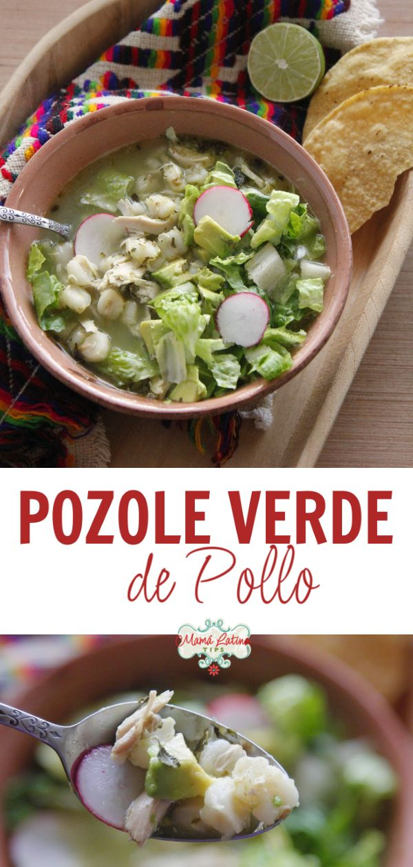 This green pozole with chicken recipe is exactly like we made it at home in Mexico when I was growing up. A delightful combination of chicken, hominy, tomatillos, cilantro, garlic & spices. Authentic Mexican Recipes, Mexican Dinner Recipes, Mexican Desserts, Mexican Dishes, Raw Food Recipes, Pork Recipes, Chicken Recipes, Cooking Recipes, Healthy Recipes