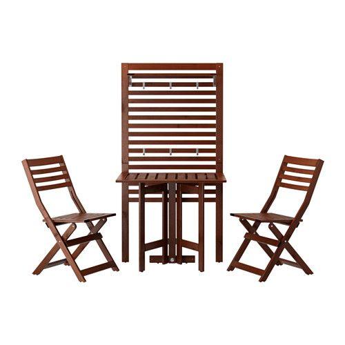 ÄPPLARÖ Wandpaneel+klaptafel+2 klapstoelen, buiten, bruin gelazuurd
