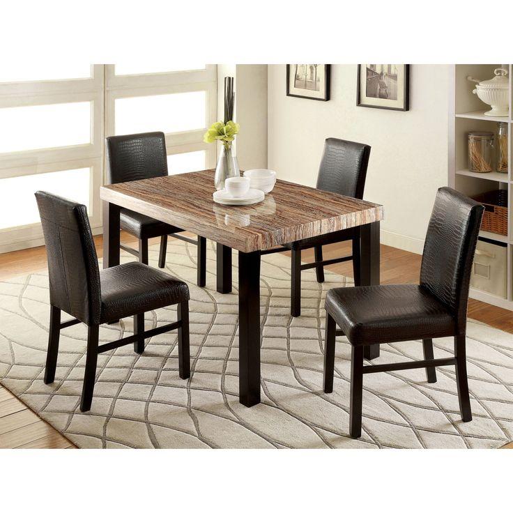 Furniture of America Ellenburg Contemporary 5 Piece Dining Table Set - IDF-3278T-5PC
