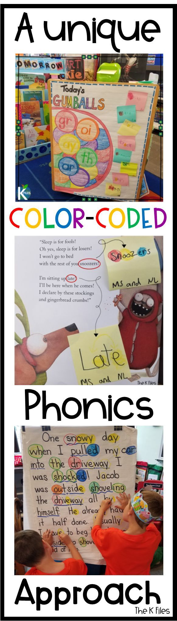 "Gumballs | The K Files: ""Phonics Gumballs"": This unique color-coded phonics strategy will keep your young writers and readers engaged and alert for phonics and spelling patterns they are learning in your Word Study program during your literacy block."