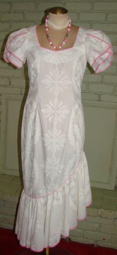 Mamo Howell White Hawaiian Dress pink trim Mermaid skirt S size 4